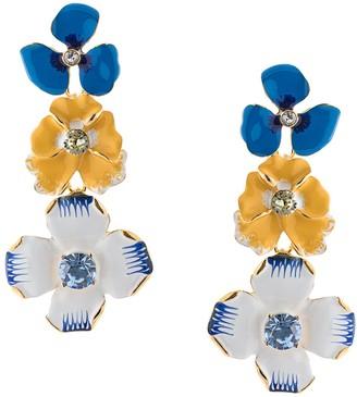 Kenneth Jay Lane Enamel Flower Drop Earrings