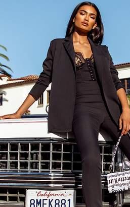 PrettyLittleThing Black Woven Long Sleeve Blazer