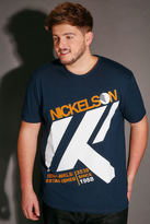 Yours Clothing NICKELSON Navy Short Sleeve Crew Neck T-Shirt