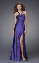 La Femme 15160 Jeweled Halter Satin A-line Dress