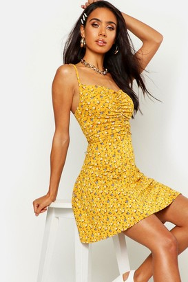 boohoo Ditsy Floral Ruched Front Strappy Skater Dress