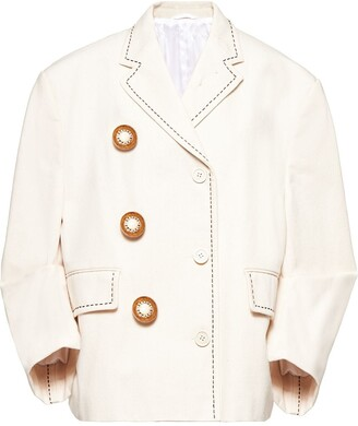 Miu Miu Oversized-Button Canvas Jacket