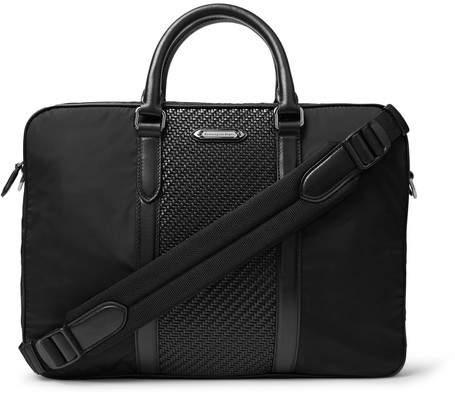 Ermenegildo Zegna Nylon And Pelle Tessuta Leather Briefcase