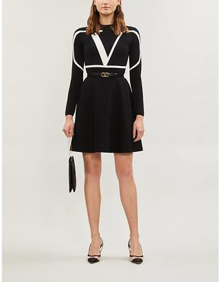 Valentino Flared logo-print knitted mini dress
