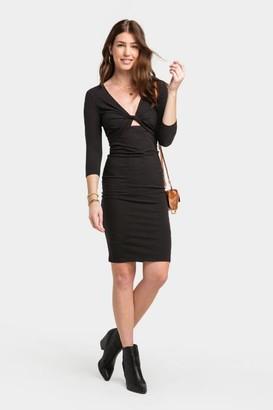 francesca's Carline Front Twist Peekaboo Dress - Black