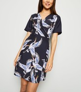 New Look Mela Bird Print Wrap Dress