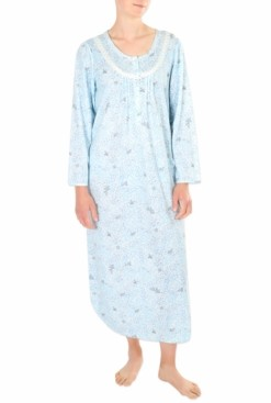 Miss Elaine Printed Honeycomb Pointelle Long Nightgown