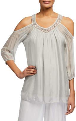 Moda Seta V-Neck Crochet-Trim Cold-Shoulder Top