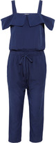 Clu Cutout Silk And Cotton-blend Jumpsuit - Indigo