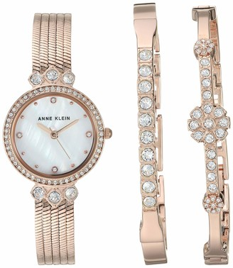 Anne Klein Women's Swarovski Crystal Accented Watch and Bracelet Set AK/3202RGST