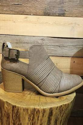Qupid Taupe Faux Leather Strap Front Bootie