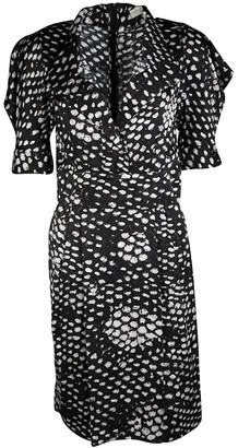 Stella McCartney Monochrome Printed Silk Short Sleeve Dress S