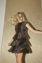 Little Mistress Trixie Rainbow Sequin Tiered Shift Dress