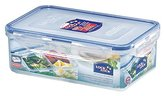 Lock & Lock Rectangular Storage Container with 3 Compartments, 1 L - Clear/Blue