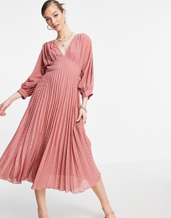 ASOS DESIGN pleated batwing midi dress in chevron dobby in tea rose