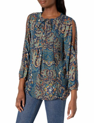 Zoey Vintage America Blues Women's Tunic with Tie at Neck