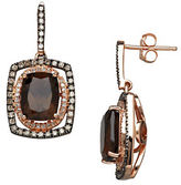 Lord & Taylor Diamond, Smokey Quartz and 14K Rose Gold Drop Earrings, 0.57 TCW