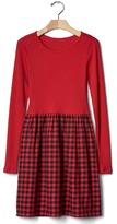Gap Mix-fabric plaid dress