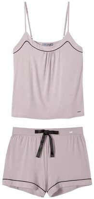 Pretty You London Bamboo Cami & Short Pyjama Set In Oyster