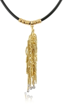 Orlando Orlandini Flirt - Diamond Drops 18K Yellow Gold Thread Pendant w/Rubber Lace