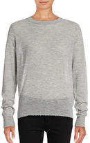 Vince Distressed Trim Cashmere Crew Sweater