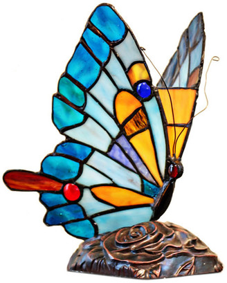 """River Of Goods 9"""" Tiffany Stained Glass Flying Butterfly Accent Lamp"""