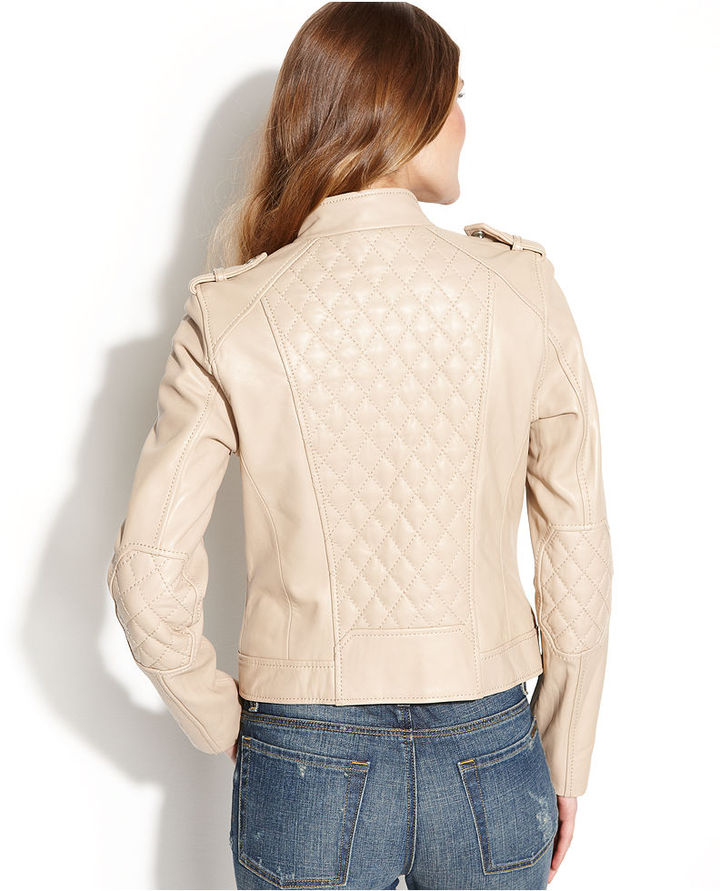 MICHAEL Michael Kors Quilted Leather Motorcycle Jacket