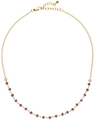 Amadeus Luna Short Gold Chain Necklace With Garnet Gemstones