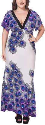 Mo Fei Hua MO FEI HUA Women's Maxi Dresses White - White & Blue Peacock Feather V-Neck Maxi Dress - Women & Plus