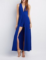 Charlotte Russe V-Neck Layered Maxi Romper