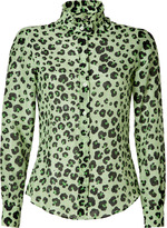 Moschino Cheap & Chic May Green/Black Leopard Print Blouse