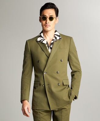 Todd Snyder Sutton Double Breasted Seersucker Suit Jacket in Olive