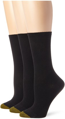 Gold Toe Women's 3 Pair Premium Cotton Non Binding Crew Sock