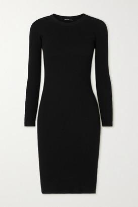 James Perse Ribbed Cotton Midi Dress - Black