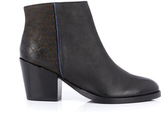 Kaporal Lexika Leather Ankle Boots with Block Heel