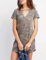 Charlotte Russe Distressed Camo Cut-Out Shirtdress