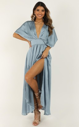 Showpo Save It For Later Dress In dusty blue satin - 6 (XS) Dresses