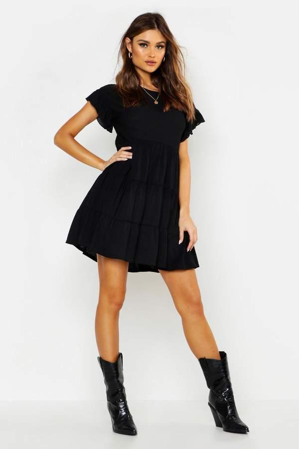 boohoo Crinkle Frill Sleeve Tier Smock Dress