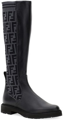 Fendi Knee-High Knit Leather Combat Boots