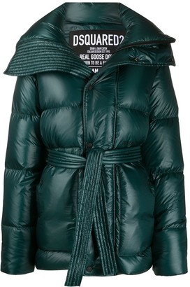 DSQUARED2 High-Shine Tie-Waist Quilted Down Coat