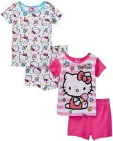 Hello Kitty Little Girls Pink & Multi Color Snug Fit 4pc Pajama Short Set