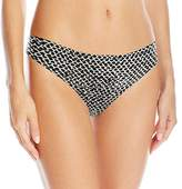 Calvin Klein Women's Printed Invisibles Thong Panty, Wandering Print, S