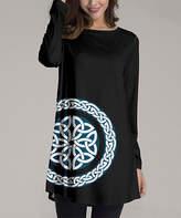 Nanu Women's Tunics Black - Black & White Geometric Medallion Long-Sleeve Tunic - Women & Plus