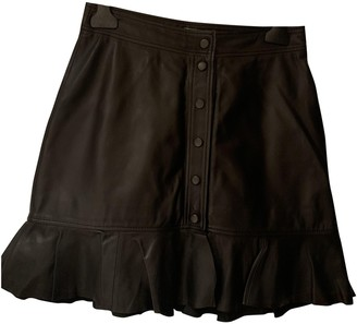 Ganni Black Leather Skirt for Women