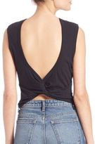 Alexander Wang Cotton Jersey Open Back Twist Tank Top