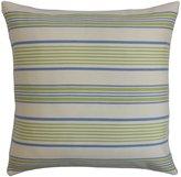The Pillow Collection Orenda Stripes Outdoor Pillow, Blue Green