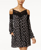 American Rag Printed Crochet-Trim Cold-Shoulder Shift Dress, Only at Macy's