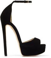 Jimmy Choo MAX 150 Black Suede Open Toe Platform Sandals