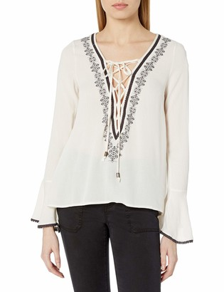 Taylor & Sage Women's Embroidered Long Sleeve Lace Up Sharkbite