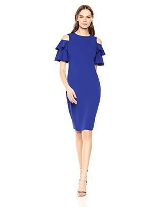 Calvin Klein Women's Cold Shoulder Sheath with Tiered Sleeve Dress